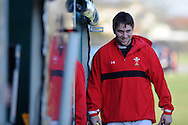 a happy Wales capt Ryan Jones arrives for training. Wales rugby training and press conference at the Vale resort, Hensol near Cardiff, South Wales on Tuesday 19th Feb 2013. The team are training ahead of their forthcoming RBS Six nations match in Italy. pic by Andrew Orchard, Andrew Orchard sports photography,