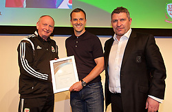 NEWPORT, WALES - Saturday, May 21, 2016: Lennie Lawrence and Osian Roberts present the FAW Pro Licence Coaching Award Certificate to Chris Davies during the Football Association of Wales' National Coaches Conference 2016 at the Celtic Manor Resort. (Pic by David Rawcliffe/Propaganda)
