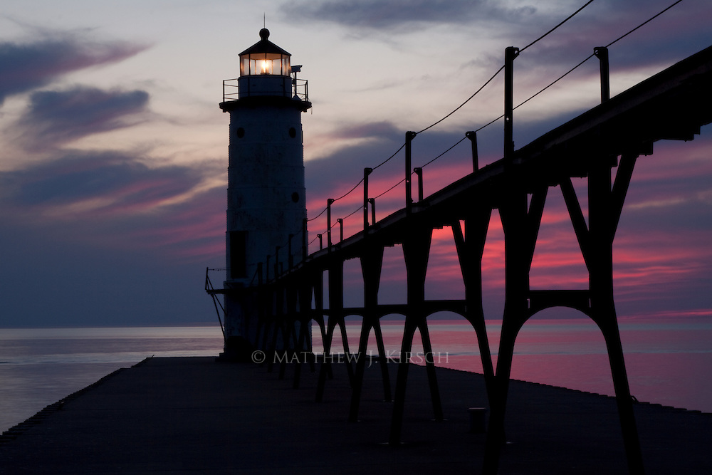 Manistee Breakwater Lighthouse was built in 1927.  It is constructed on cast iron and stands 55 feet tall.  It is located on the eastern shore of Lake Michigan in Manistee, Michigan.