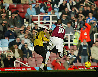 Photo. Chris Ratcliffe, Digitalsport<br /> West Ham United v Derby County. Coca Cola Championship. 23/01/2005<br /> Derby keeper Lee Camp brings down Marlon Harewood , not sent off as Pardew thought he should have been.
