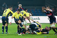 Valentin Calafeteanu (L) of Romania shoot at the goal during their  rugby test match between Romania and USA, on National Stadium Arc de Triomphe in Bucharest, November 8, 2014.  Romania lose the match against USA, final score 17-27.