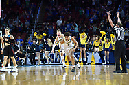 Mar 17, 2018; Wichita, KS, USA; Michigan Wolverines guard Jordan Poole (2) celebrates with his teammates including Moritz Wagner (13) after making the game-winning three point shot to defeat the Houston Cougars in the second round of the 2018 NCAA Tournament at INTRUST Bank Arena. Mandatory Credit: Peter G. Aiken