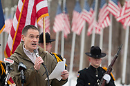 Goshen, New York - Orange County Veterans Service Agency director Christian Farrell speaks during a Wreaths Across America ceremony at Orange County Veterans Memorial Cemetery on Dec. 16, 2017. About 3,000 wreaths were placed at graves, and small American flags were added to the wreaths at veterans' graves.