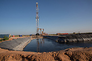 Frack pond  with toxic chemicals in it in Big Spring Texas used by the fracking industry in the Permian Basin. In Big Spring citizens are limited in their water use do to drought conditions, though the fracking industry has no limit restrictions for their water usage.