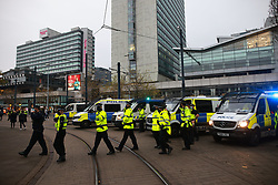© Licensed to London News Pictures. 08/11/2020. Manchester, UK. Police issue a dispersal offer as an anti lockdown protest takes place in Manchester City Centre . Photo credit: Joel Goodman/LNP