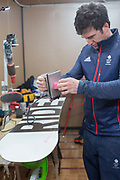 Team GB wax technician, BJ Mazzola preparing the squads snowboards ahead of this weeks snowboard slopestyle practice run on 05th February at Phoenix Snow Park in South Korea