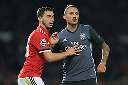 31st October 2017 - UEFA Champions League - Group A - Manchester United v SL Benfica - Matteo Darmian of Man Utd tussles with Ljubomir Fejsa of Benfica - Photo: Simon Stacpoole / Offside.