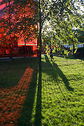 Red-tinted landscape against green grass caused by the Serpentine Gallery's Pavillion.