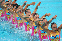 26/08/04 - ATHENS  - GREECE -  OLYMPICS GAMES 2004 - SYNCHRONISED SWIMMING - Team event - Technical Routine <br />Here the teal from CHINA.<br />© Gabriel Piko / Argenpress.com / Piko-Press