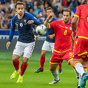 PARIS, FRANCE - September 10:  Antoine Griezmann #7 of France and Márcio Vieira #8 of Andorra challenge for the ball during the France V Andorra, UEFA European Championship 2020 Qualifying match at Stade de France on September 10th 2019 in Paris, France (Photo by Tim Clayton/Corbis via Getty Images)
