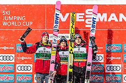 03.02.2019, Heini Klopfer Skiflugschanze, Oberstdorf, GER, FIS Weltcup Skiflug, Oberstdorf, Siegerehrung, im Bild 2. platz Evgeniy Klimov (RUS), Sieger Kamil Stoch (POL), 3. Platz Dawid Kubacki (POL) // 2nd placed Evgeniy Klimov of Russian Federation Winner Kamil Stoch of Poland 3rd placed Dawid Kubacki of Poland during the winner Ceremony of FIS Ski Jumping World Cup at the Heini Klopfer Skiflugschanze in Oberstdorf, Germany on 2019/02/03. EXPA Pictures © 2019, PhotoCredit: EXPA/ JFK