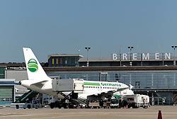 22.08.2011, Flughafen, Bremen, GER, Feature Flughafen Bremen, im Bild Airbus der Fluggesellschaft Germania vor dem Terminal..// on 2011/08/22, Airport, Bremen, Germany..EXPA Pictures © 2011, PhotoCredit: EXPA/ nph/  Frisch       ****** out of GER / CRO  / BEL ******