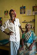 Ganapadi and his wife, Khrisaveni residents in their room at the Tamaraikulam Elders' Village, Tamil Nadu, India