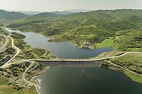 Aerial view of empty road on the dam in Karditsa region, Greece