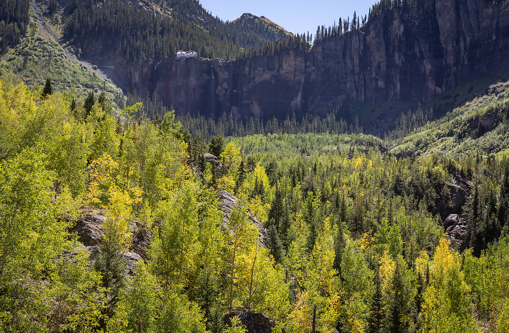 The end of the Telluride Valley rises in a rock wall and Bridal Veil Falls.