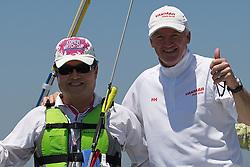 World Match Racing Tour 2010. Korea Match Cup, Gyeonggi, Korea. 8th June 2010. Eun Chan Lee Director, Chief Management Officer of Hyundai Motors (left), and Peter Gilmour.