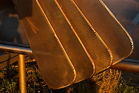 NC01439-00...NORTH CAROLINA - A closeup of the propeller, depicted on a life-like sculpture, of the first flight of the Wright brothers airplane at the Wright Brothers National Memorial on the Outer Banks at Kitty Hawk.