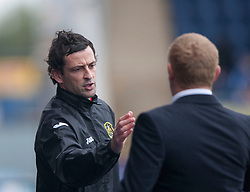 Dumbarton's Jack Ross, ass manager and Falkirk's manager Gary Holt at the end.<br /> Falkirk 1 v 2 Dumbarton, Scottish Championship game played today at the Falkirk Stadium.<br /> ©Michael Schofield.