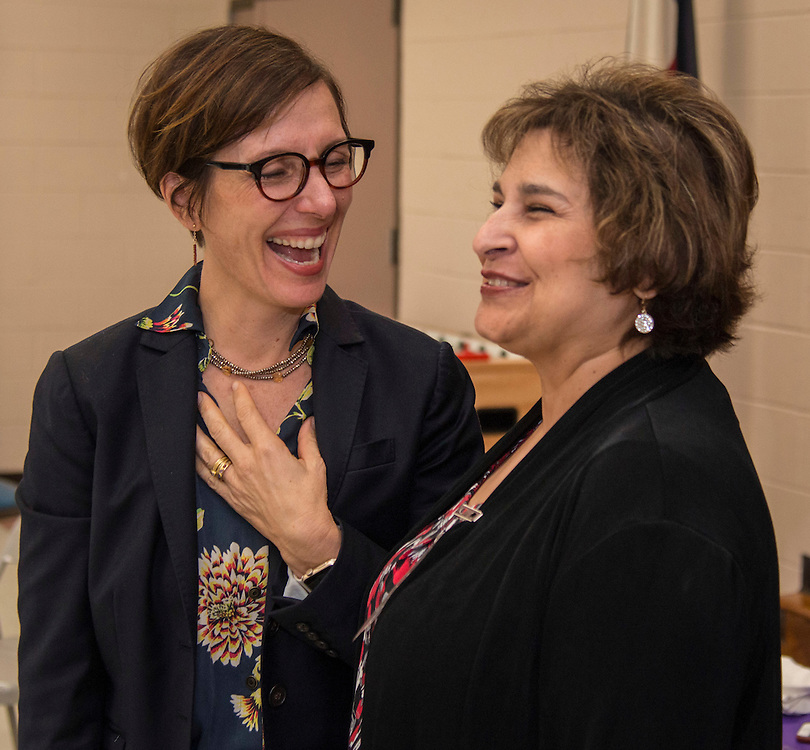Houston ISD Trustee Anna Eastman congratulates Cecilia Gonzales as Elementary Principal of the Year at Lyons Elementary School, February 9, 2017.