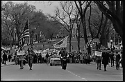 Madison, WI – May, 1970. Protesters against the war in Vietnam march up State Street towards the Capitol, led by Veterans for Peace in Vietnam. On May 1, 1970, there was a general student strike in response to the news that the U.S. had expanded bombing into Cambodia. There was a march against the war, led by Veterans for Peace in Vietnam; and after the May 4 shootings at Kent State University in Ohio, there were more protests at UW Madison, which led to the police being called in, and teargassing demonstrators in the streets and on campus. The march starting on State Street, heading for the State Capitol.