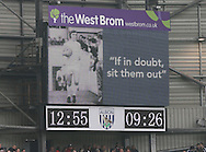 West Brom's scoreboard shows a picture of Jeff Astle<br /> <br /> Barclays Premier League- West Bromwich Albion vs Arsenal - The Hawthorns - England - 29th November 2014 - Picture David Klein/Sportimage