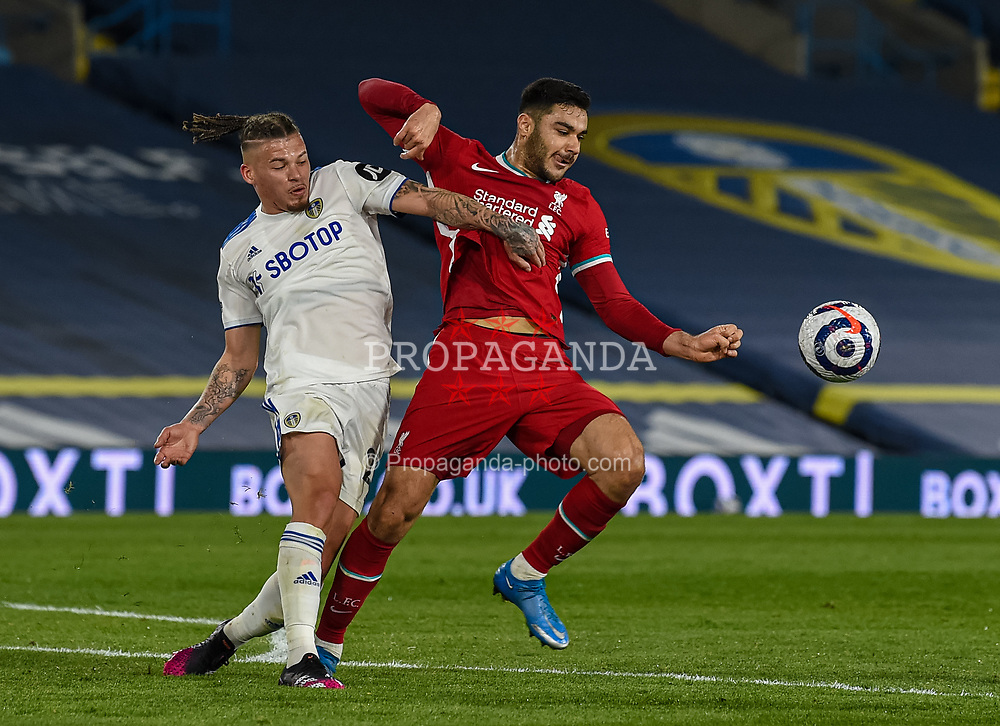 LEEDS, ENGLAND - Monday, April 19, 2021: Liverpool's Ozan Kabak (R) during the FA Premier League match between Leeds United FC and Liverpool FC at Elland Road. (Pic by Propaganda)