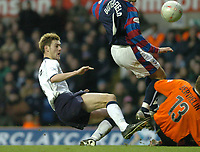Picture: Henry Browne.<br /> Date: 03/01/2004.<br /> Tottenham Hotspur v Crystal Palace FA Cup 3rd Round.<br /> Johnnie Jackson of Spurs is denied by Palace Keeper Cedric Berthelin.