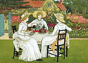 Afternoon Tea. Three young ladies in white dresses and straw bonnets take tea on lawn in walled garden with wide herbaceous border. Chromolithograph after Kate Greenaway 1886