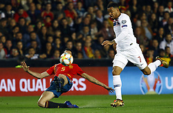 March 23, 2019 - Valencia, Community of Valencia, Spain - Norway's Joshua King and Spain's Sergio Busquets seen in action during the Qualifiers - Group B to Euro 2020 football match between Spain and Norway in Valencia, Spain. Spain beat Norway, 2-1 (Credit Image: © Manu Reino/SOPA Images via ZUMA Wire)