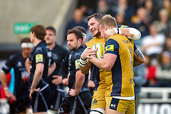 Mitch Eadie of Bristol Rugby celebrates with James Phillips after scoring a try - Rogan Thomson/JMP - 08/10/2016 - RUGBY UNION - Kingston Park - Newcastle, England - Newcastle Falcons v Bristol Rugby - Aviva Premiership.