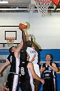 UK, Chelmsford - Thursday, March 05, 2009: Martin Overare gets fouled by an Eagle player during the Essex Basketball League game Erkenwald at Baddow Eagles. Erkenwald won the game 94 - 75. (Image by Peter Horrell / http://www.peterhorrell.com)