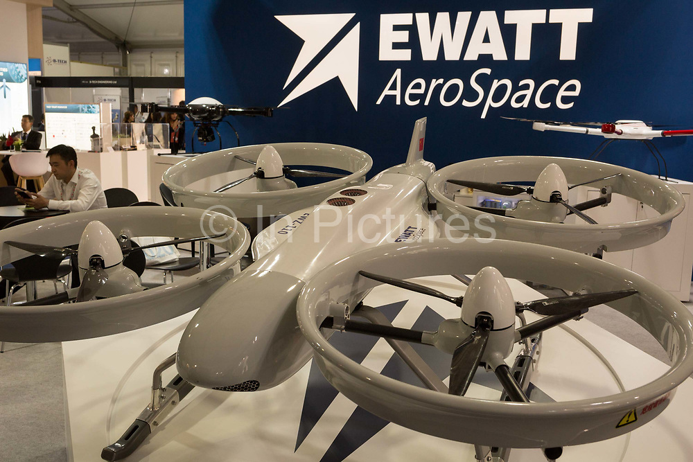 A EWZ-Z110 Quadcopter UAV exhibit by Ewatt Aerospace on their stand at the Farnborough Airshow, on 16th July 2018, in Farnborough, England. The copter has a payload of 20kg, a max speed of 72mph and a max duration of 120mins. It is conctructed from aluminium alloy and carbon-fibre composite.