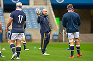 Scotland head coach, Gregor Townsend speaks with his players during the Scotland Team Run at BT Murrayfield, Edinburgh, Scotland on 22 October 2020, ahead of Scotland v Georgia.