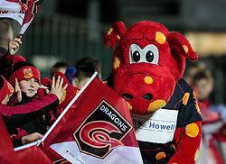 Dragons mascot Rodney greets fans<br /> <br /> Photographer Simon King/Replay Images<br /> <br /> Guinness Pro14 Round 10 - Dragons v Ulster - Friday 1st December 2017 - Rodney Parade - Newport<br /> <br /> World Copyright © 2017 Replay Images. All rights reserved. info@replayimages.co.uk - www.replayimages.co.uk