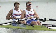 2002 World Rowing Championships - Seville - SPAIN. GBR M2-, James Cracknell left and Matthew Pinsent move away from the start in the third heat of the men's pair on the opening day of the World Rowing Championships. [Mandatory Credit: Peter SPURRIER/Intersport Images]<br /> <br /> 20020921 World Rowing Championships Seville, SPAIN
