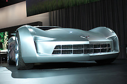 11 February 2009:  CHEVROLET STING RAY CONCEPT: Chevrolet introduced for the first time everÉ a new automotive super-starÉ the Chevrolet Sting Ray concept at theÕ09 Chicago Auto Show. General Motors Vice Pres., Design Ed Welburn, unveiled the Sting Ray concept, which pays homage to the 1959 Sting Ray Racer and 1963 Corvette Sting Ray Split-Window Coupe. Notice the wide shoulders, sculpted fender forms, side air extractors, piercing nose, and of course, the legendary Split-Window design feature. ThereÕs even a modern interpretation of the Sting Ray badge and some interesting aircraft-inspired features at the back. This futuristic vision of an American performance icon plays the role of ÒSideswipeÓ in the upcoming film Transformers II: Revenge of the Fallen..The Chicago Auto Show is a charity event of the Chicago Automobile Trade Association (CATA) and is held annually at McCormick Place in Chicago Illinois.