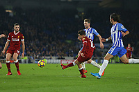 Football - 2017 / 2018 Premier League - Brighton and Hove Albion vs. Liverpool<br /> <br /> Philippe Coutinho of Liverpool fires the ball goalwards only for a deflection to score Liverpools fifth at The Amex Stadium Brighton <br /> <br /> COLORSPORT/SHAUN BOGGUST