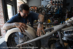 Billy Lane working in his new Columbia, TN shop after the move from Florida. Tuesday, May 25, 2021. Photography ©2021 Michael Lichter.