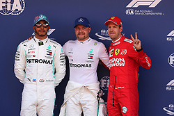 May 11, 2019 - Montmelò.Montmel&#Xf2, Catalunya, Spain - xa9; Photo4 / LaPresse.11/05/2019 Montmelo, Spain.Sport .Grand Prix Formula One Spain 2019.In the pic: 2nd position Lewis Hamilton (GBR) Mercedes AMG F1 W10, Valtteri Bottas (FIN) Mercedes AMG F1 W10 pole position and 3rd position Sebastian Vettel (GER) Scuderia Ferrari SF90 (Credit Image: © Photo4/Lapresse via ZUMA Press)