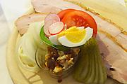 Easter in Southern Styria, Austria. Buschenschank Gutjahr. Cheese and pork.