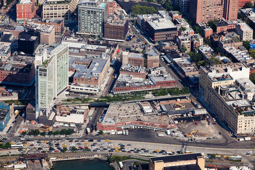 Southern end terminus of the High Line in the Meat Packing District with the Standard Hotel on the left.