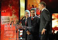 20120227: LISBON, PORTUGAL - SL Benfica 108th anniversary gala at Coliseu dos Recreios in Lisbon, Portugal.<br /> In photo: Luis Filipe Vieira, Eusebio and Ricardo Araujo Pereira.<br /> PHOTO: Alvaro Isidoro/CITYFILES