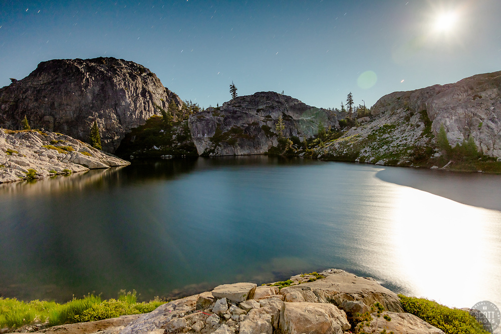 """""""Lake in the Tahoe Back Country 5"""" - Night time photograph of a small lake with no name in the Tahoe area back county, somewhat near Jackson Meadows. The moon can be seen in the shot."""