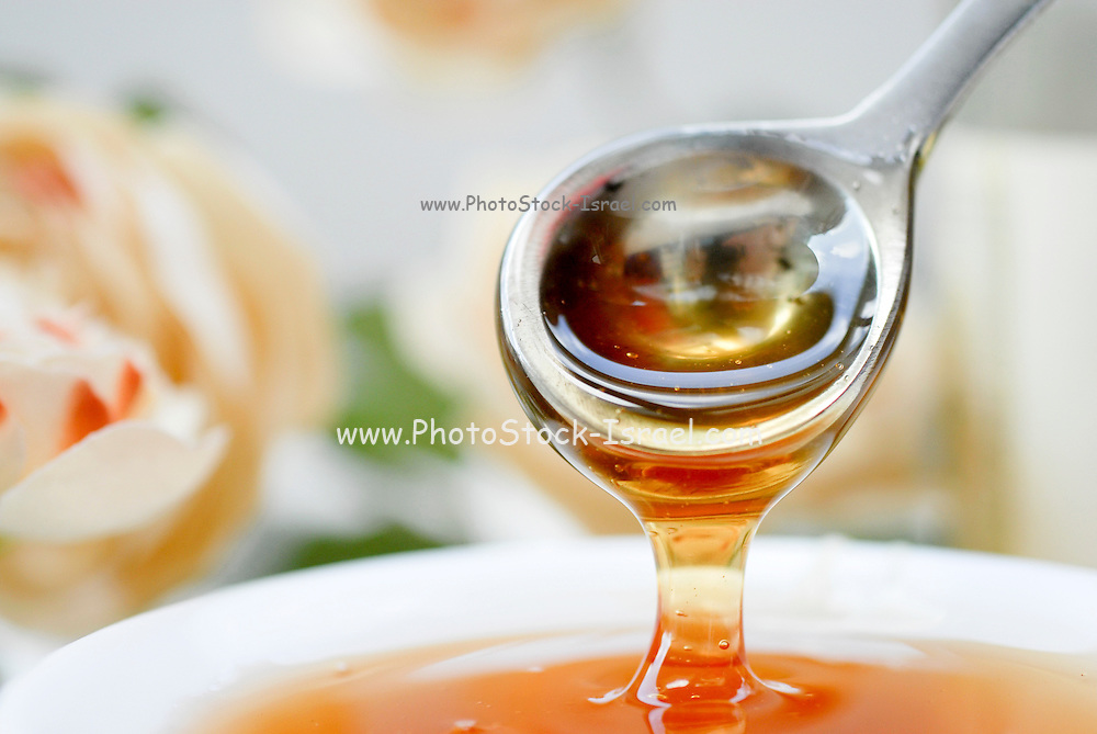 A bowl and spoon full of honey