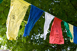 """Tibetan prayer flags swaying in the breeze at Nottingham University Student Union """"Sounds on the Downs"""" Green Fields Festival; part of Green Week 2008, In March 2008 protests by monks in Lhasa marking the 49th anniversary of a failed uprising against Chinese rule turned into riots and clashes with security forces,"""