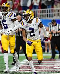 LSU Tigers wide receiver Justin Jefferson (2) reacts after scoring a touchdown during the first half against Oklahoma Sooners in the 2019 College Football Playoff Semifinal at the Chick-fil-A Peach Bowl on Saturday, Dec. 28, in Atlanta. (Vasha Hunt via Abell Images for the Chick-fil-A Peach Bowl)