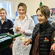Laboratory technician Barbara Fromentin with deputy cellar master Magalie Marechal at Champagne Mumm during harvest.