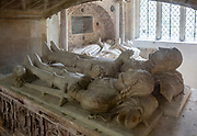 Berkeley church burial chapel foreground Lord James 1417-1463 and son James beyond Lord Henry 1534-1613 wife Katharine Howard