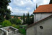 Elevated view of village of Zrnovo, from church of Sveti Martin (Saint Martin), island of Korcula, Croatia
