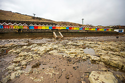 © Licensed to London News Pictures. 06/03/2018. Scarborough UK. Large parts of the beach in the North Bay of Scarborough have been left with no sand after storm Emma. Photo credit: Andrew McCaren/LNP